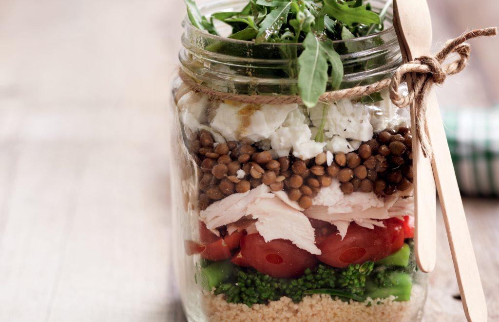 Spiced couscous, lentil and feta salad jars
