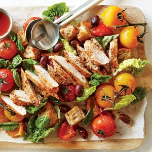 Sun-dried tomato chicken panzanella salad