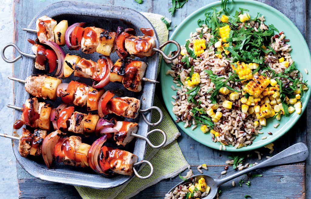 Sweet 'n' spicy chicken and vege skewers with rice