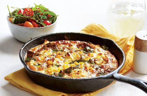 Tuna, corn and spinach frittata