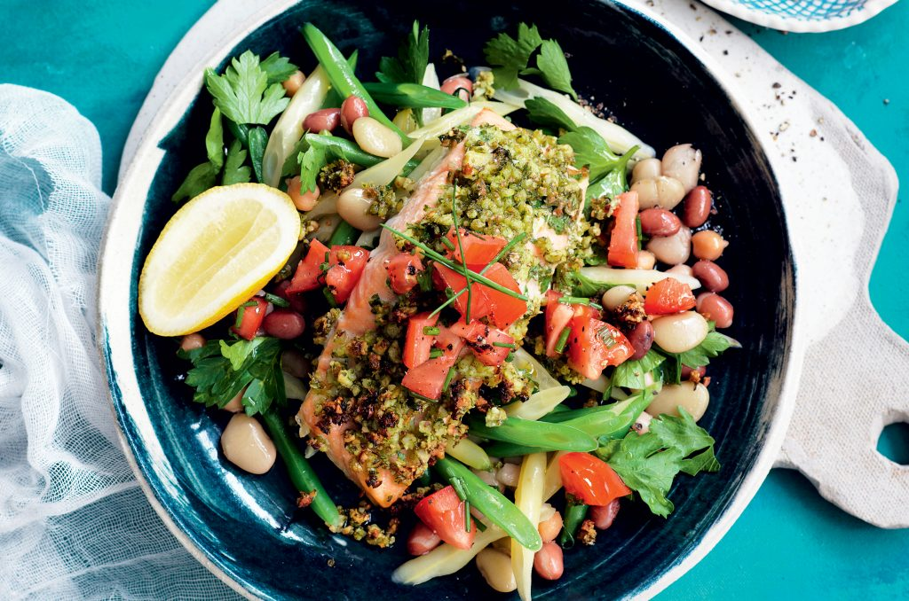 Almond-crusted salmon with bean salad and salsa