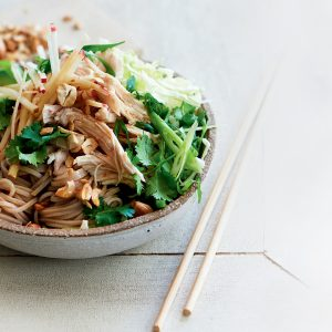 Asian-style apple slaw with poached chicken