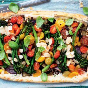 Broccolini, lentil, roasted vegetable and ricotta tart