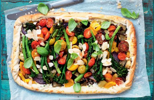 Broccolini, lentil, roasted vegetable and ricotta tart