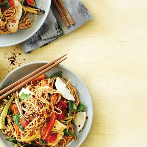 Chicken noodle salad with spicy sesame dressing