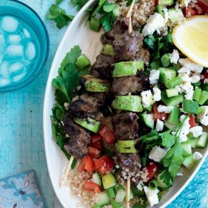 Lamb souvlaki with bulgar, tomato and feta salad