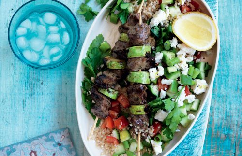 Lamb souvlaki with bulgar, tomato and feta salad