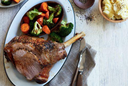 Roast lamb dinner with skordalia