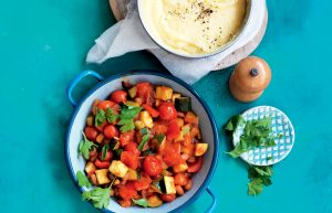 Soft polenta with braised capsicums and borlotti beans