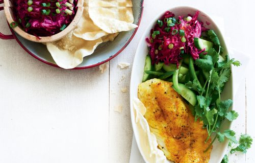 Spiced fish with beetroot raita