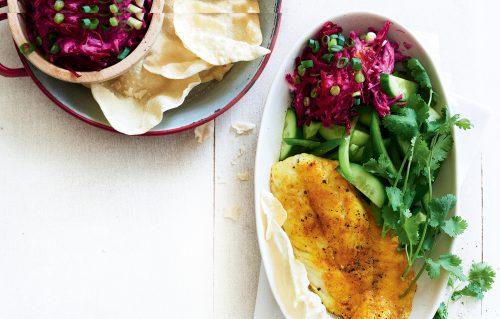 Spiced fish with beetroot raita