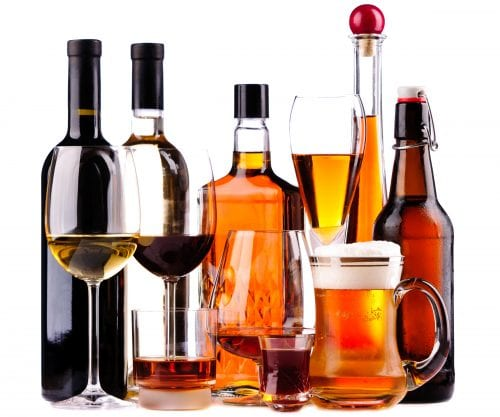 Alcohol percentage of common drinks