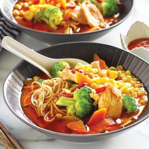 Chicken and vege tantan noodle soup