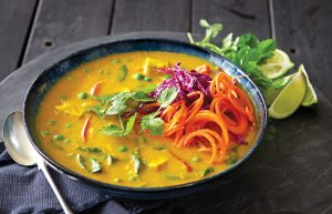 Coconut curry soup with carrot noodles
