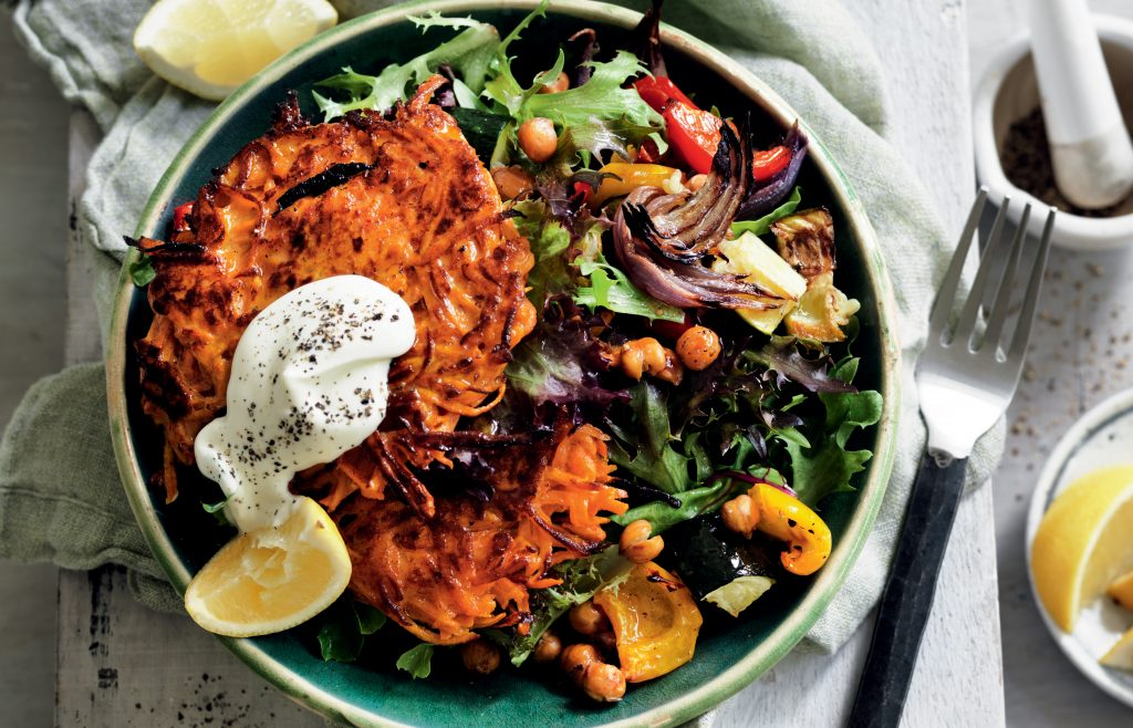 Curried kumara rösti with roasted vege salad