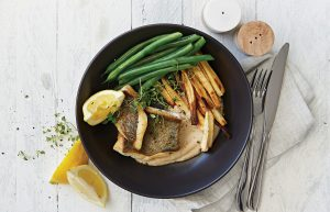 Lemon fish with butter bean mash and parsnip fries