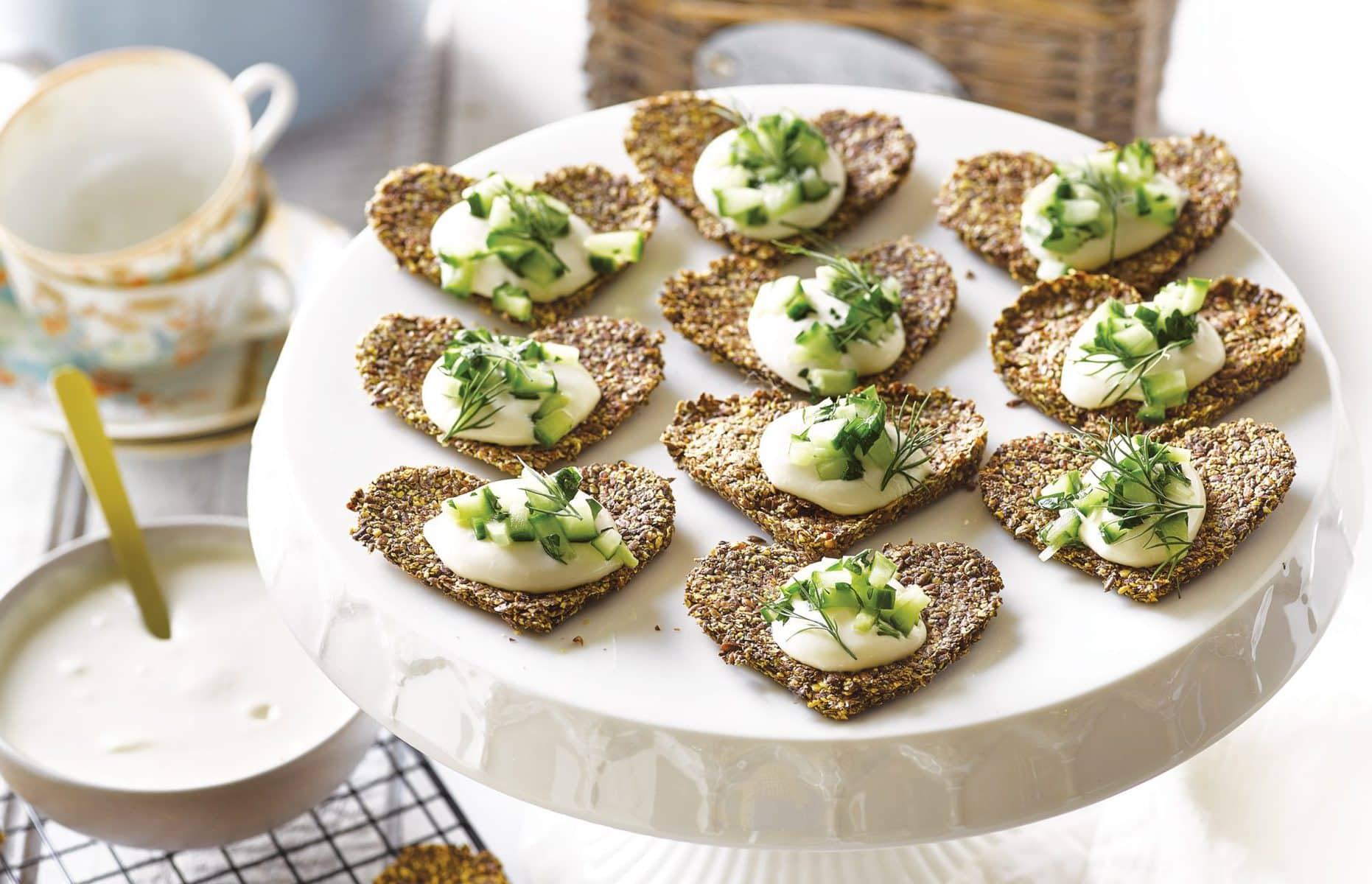 Linseed crackers with whipped feta and herbed cucumber