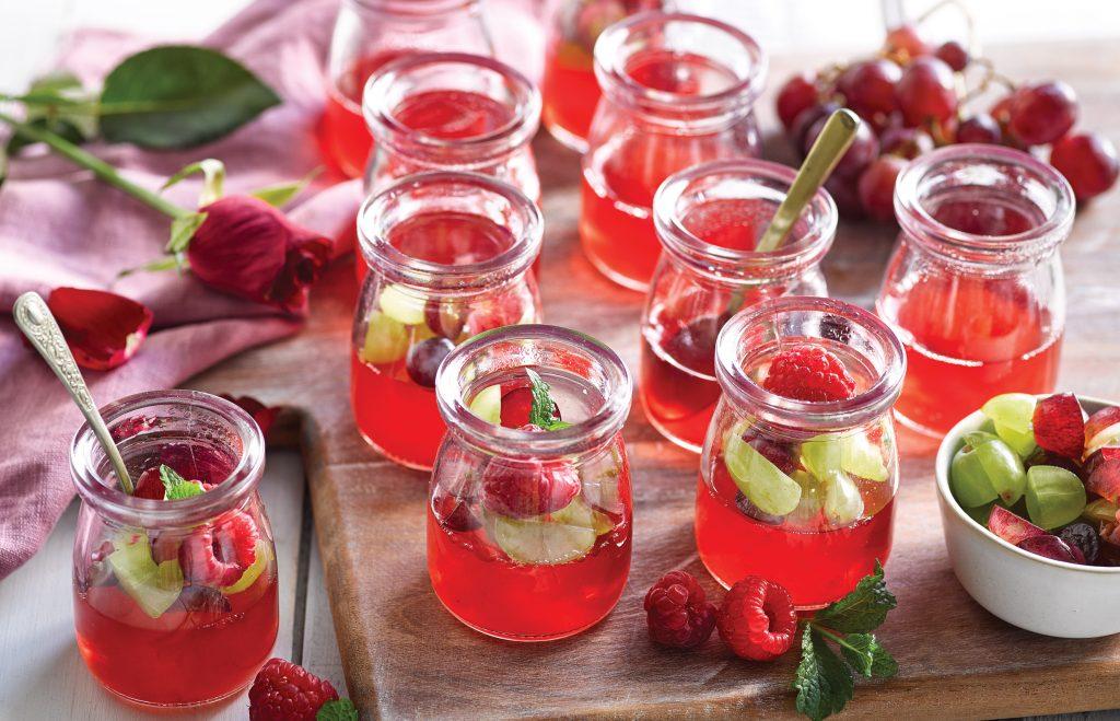 Raspberry and rose jellies