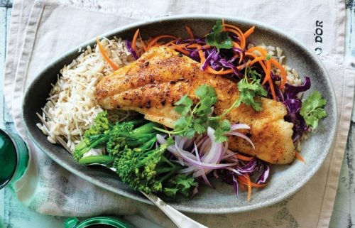 Spiced fish with slaw and coconut rice