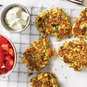 Vegetable and ricotta fritters with capsicum salsa