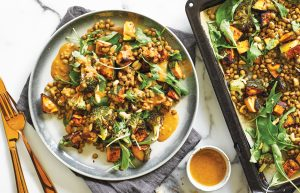 Warm broccoli and miso-roasted buttercup salad with peanut dressing