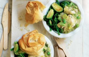 individual pies with chicken, leek, filo, broccoli and Brussels sprouts