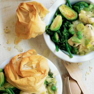 Chicken and leek filo pot pies