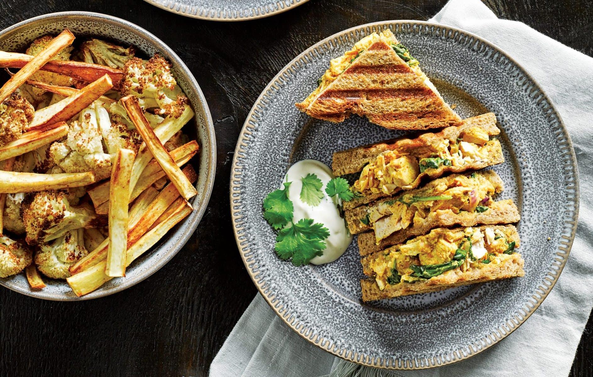 Chicken tikka toasties with vege bites