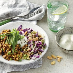 Curried lamb mince with nutty cabbage