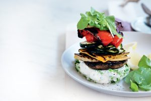 Herbed ricotta and chargrilled vegetable stacks