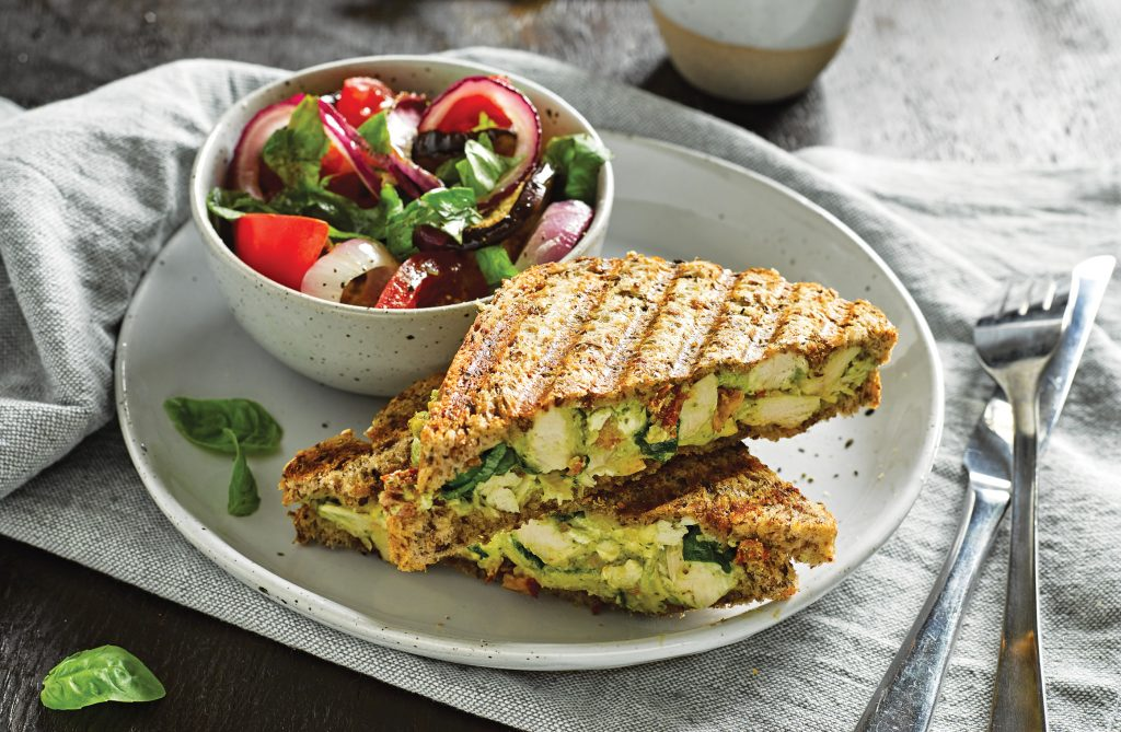 Italian chicken toasties with roast vege salad
