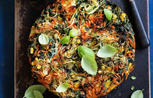fritatta made with vegetables and noodles