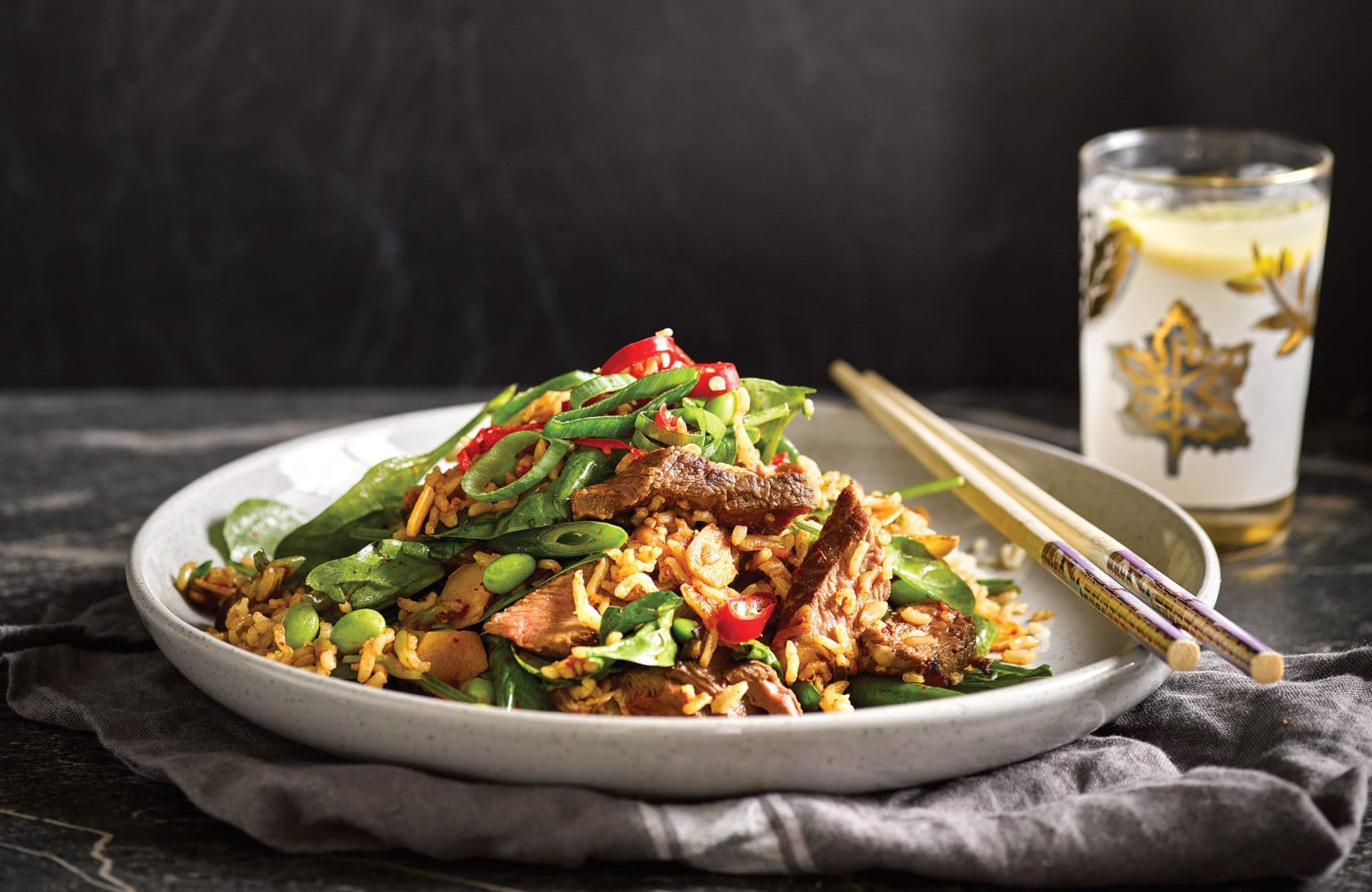Soy ginger beef with kimchi fried rice