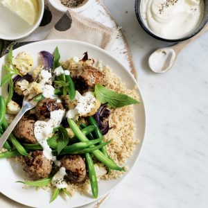 Spiced lamb meatballs with baked cauliflower salad