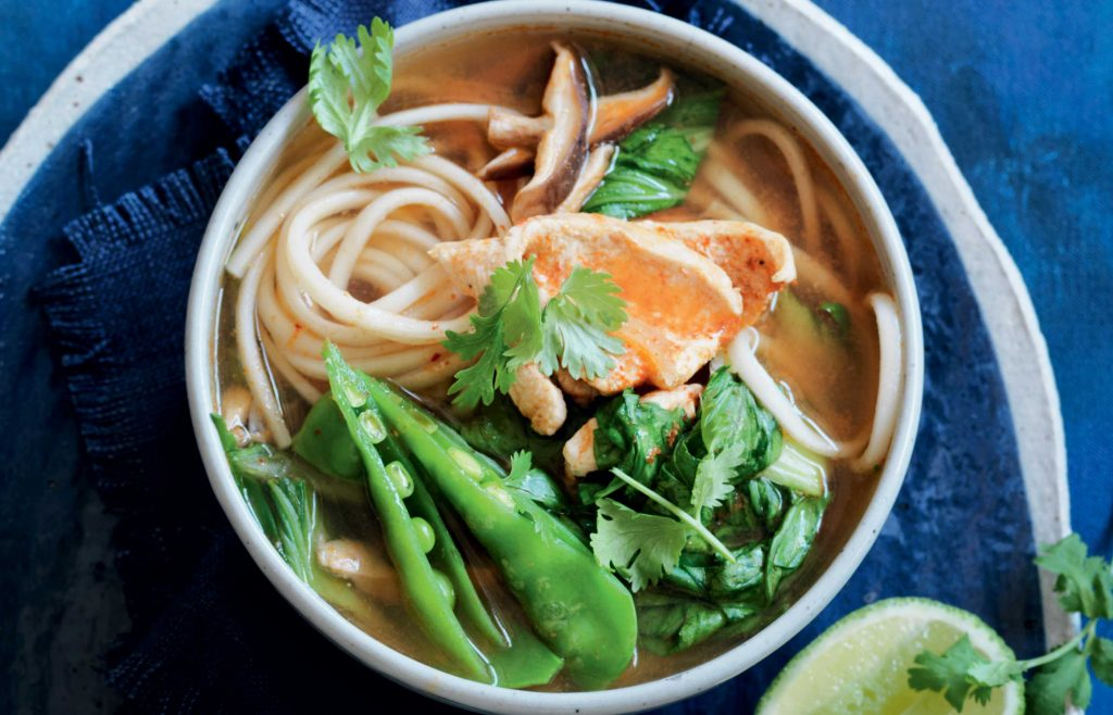 udon noodle soup with vegetables and chicken