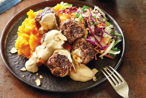 Swedish meatballs with vege mash and slaw