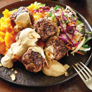 Swedish meatballs with vege mash and slaw