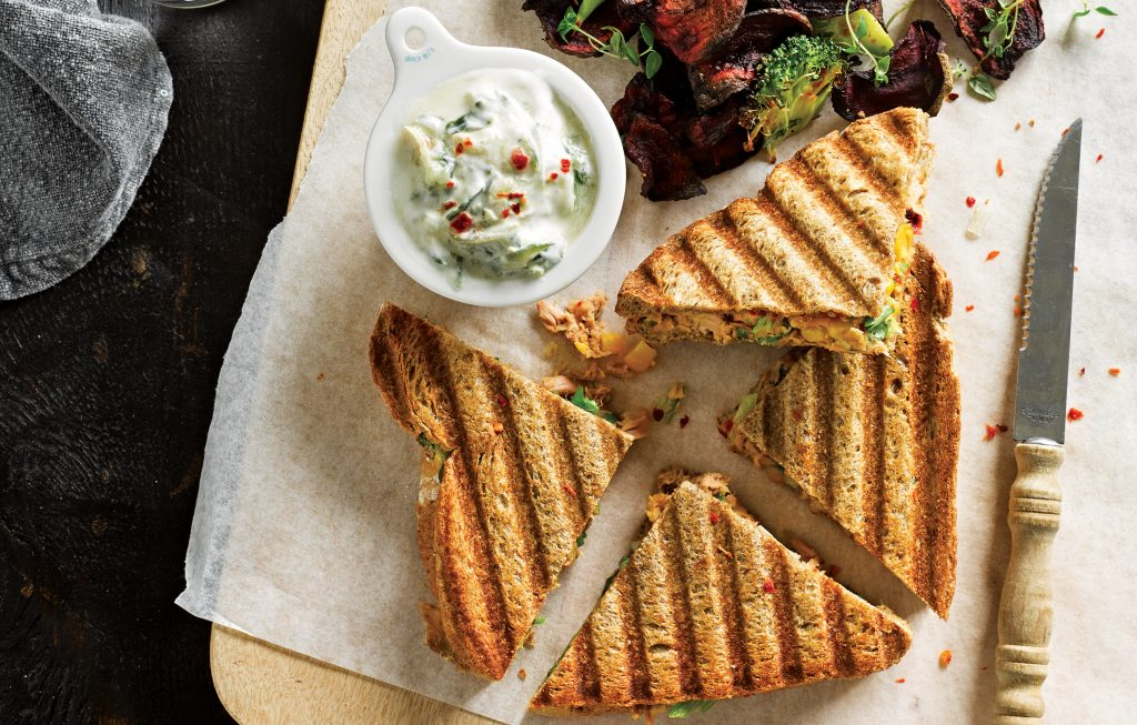 Tuna, corn and onion toasties with vege chips
