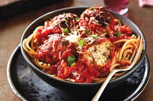Tuscan meatballs and spaghetti