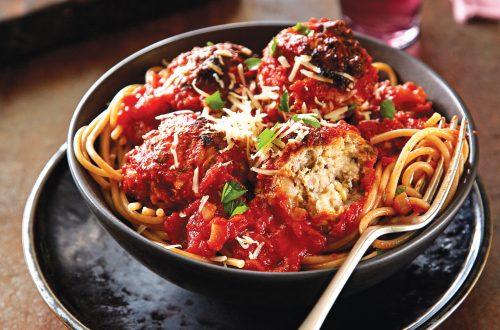 Tuscan meatballs and spaghetti