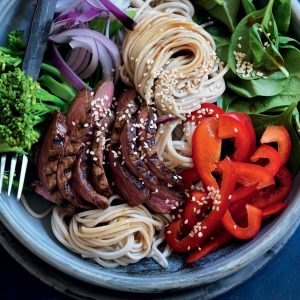 Warm wasabi beef, soba noodle and spinach salad