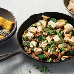 Braised spicy mushrooms and tofu