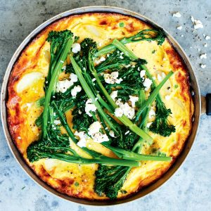 Broccolini, pea and potato frittata with goat's cheese