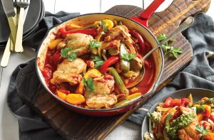 Crispy chicken thighs with capsicum and pesto