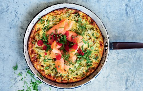 Herby fennel, leek and smoked salmon frittata