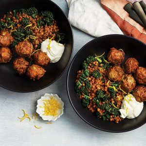 Lamb and vege meatballs with spiced lentils