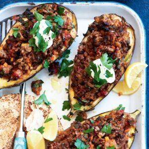 Lebanese lamb-stuffed eggplants