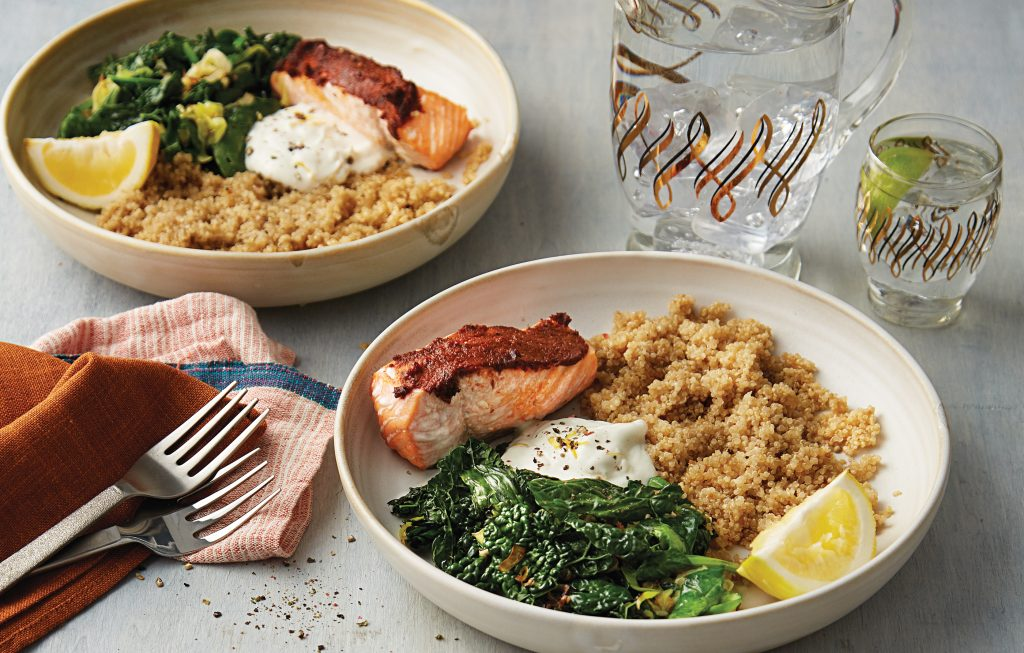 Roast tandoori-spiced salmon with quinoa and lemon yoghurt