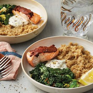 Roast tandoori-spiced salmon with quinoa and lemon yoghurt