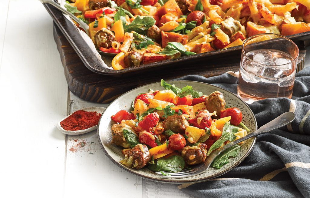 Sausage and vege tray bake